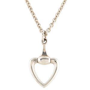GUCCI Heart Horsebit Pendant Necklace - 100% Authe